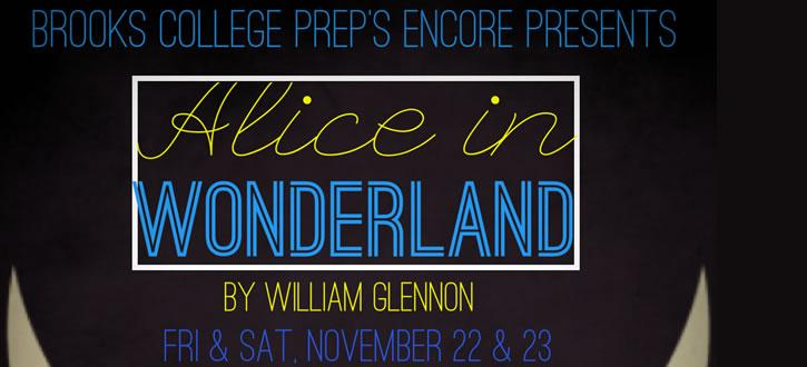 Image from flyer for Brooks performance of Alice in Wonderland.