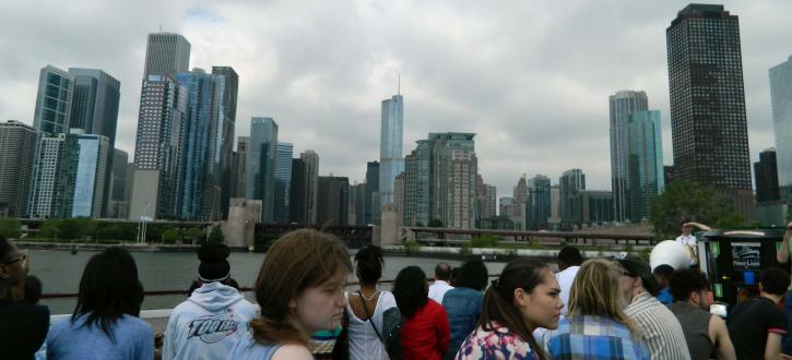 Photo of Brooks students on a boat on the Chicago river.
