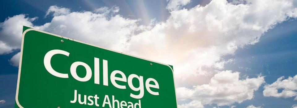 Sign saying College Just Ahead