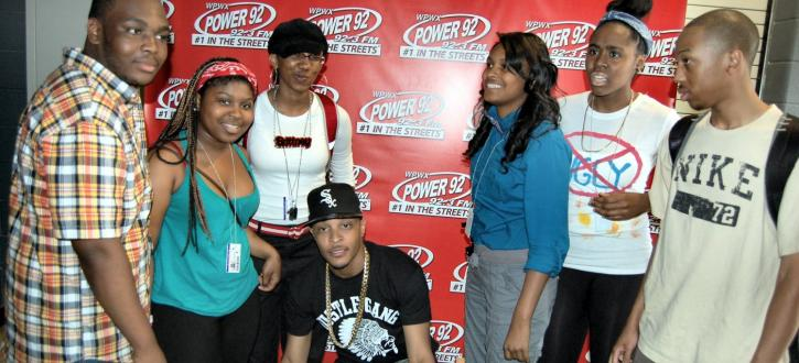 Photo of TI with Brooks students.
