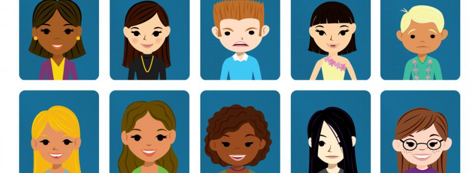 Clip art with portraits of students.